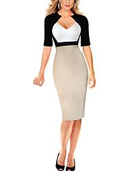 Women's Casual/Daily / Work Simple Bodycon DressPatchwork Asymmetrical Knee-length  Length Sleeve Polyester Fall