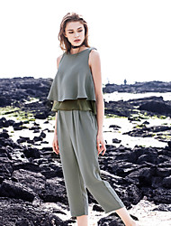 LIANGSANSHI  Women's Casual/Daily Street chic Summer Set,Solid Round Neck Sleeveless Green Polyester Thin