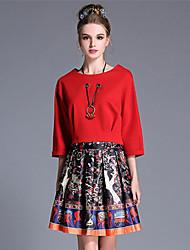 aufoli Herbstfrauen plus Größe Art und Weise Vintage Print Bluse Rock zwei-teiliges Set