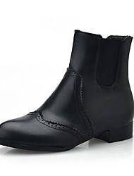 Feminino-Saltos-Inovador Botas de Cowboy Botas de Neve Botas Montaria Botas da Moda-Salto Baixo-Preto Vermelho-Sintético Couro