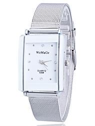 Ladies'/Women's Watch Gold/Silver Steel Thin Band Bike White Case Analog Quartz Imitation Diamond Fashion Wrist Watch