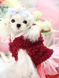 Dog Hoodie Dress Dog Clothes Winter Floral / Botanical Fashion Keep Warm Purple Red