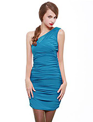 Women's Party/Cocktail Sexy / Vintage / Cute Bodycon Dress,Solid One Shoulder Above Knee Sleeveless Blue / Pink Spandex All Seasons