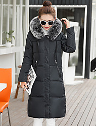 Long Down Coat,Simple Casual/Daily Solid-Others White Goose Down Long Sleeve Shirt Collar