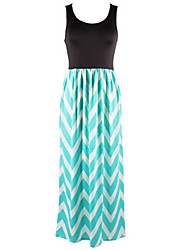 Women's Going out Simple A Line DressStriped Round Neck Maxi Sleeveless Pink / Green / Orange / YellowCotton /