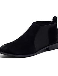 Черный / Коричневый / Серый-Мужской-Для прогулок-Кожа-На плоской подошве-Туфли Мери-Джейн-На плокой подошве