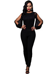 Women's Black Sheer Split Long Sleeve Open Back Jumpsuit