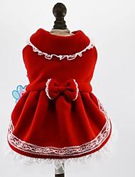 Chat Chien Robe Vêtements pour Chien Hiver Printemps/Automne Nœud papillon Mignon Vacances Mode Rouge Bleu