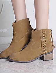 Damen-Stiefel-Lässig-Wildleder-Blockabsatz-Modische Stiefel-Gelb / Beige