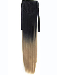 Heat Resistance Synthetic 22inches Women Long Straight Synthetic Hair Ponytail Ombre Ribbon Pony Tail Extensions