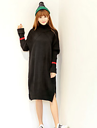 Women's Casual/Daily Cute Sweater DressSolid Turtleneck Above Knee