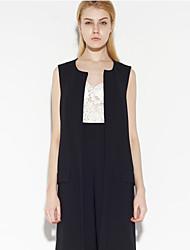 c + impressionar o trabalho das mulheres verão simples blazersolid em torno do pescoço sem mangas de poliéster preto opaco