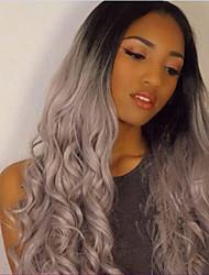onda longa perucas tons de moda feminina dianteira do laço do cabelo natural peruca de moda de prata