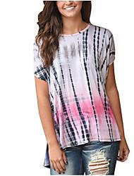 Damen Druck Einfach Lässig/Alltäglich T-shirt,Rundhalsausschnitt Sommer / Herbst Kurzarm Weiß Polyester Dünn