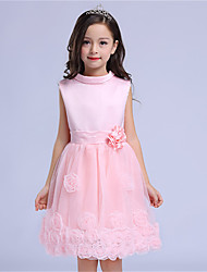 Girl's Formal Solid DressCotton / Polyester All Seasons Pink