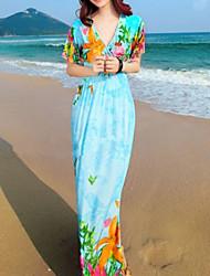 Floral Print Femmes robe à manches courtes