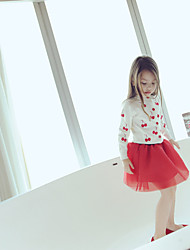 Girl's Casual/Daily Print DressCotton Winter / Fall Red / White