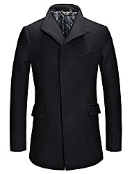 Men's Plus Size Simple / Street chic Coat,Solid Square Neck Long Sleeve Fall / Winter Blue / Black / Gray Others Medium