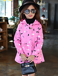 Girl's Casual/Daily Print ShirtPolyester Spring / Fall Orange / Pink / Red