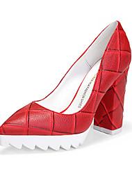 Черный / Красный / Миндальный-Женский-На каждый день-Полиуретан-На толстом каблуке-На каблуках-Обувь на каблуках
