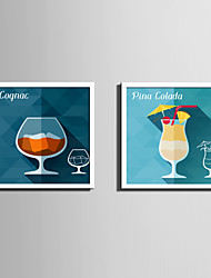 E-HOME® Framed Canvas Art, Cold Drink Cup Framed Canvas Print Set Of 2