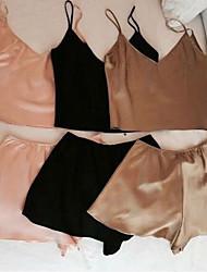 Costumes Vêtement de nuit Femme,SexyMince Mousseline de soie Spandex Rose Noir