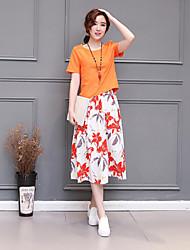 Damen Solide Retro Lässig/Alltäglich T-shirt Rock,Rundhalsausschnitt Sommer Kurzarm Weiß / Orange / Gelb / Lila Polyester Undurchsichtig