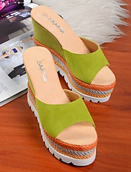 Women's Sandals Summer Platform Suede Casual Wedge Heel Platform Others Blue Green White Fuchsia Other