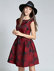 Women's Going out Boho / Sophisticated Sheath DressJacquard Round Neck Above Knee Sleeveless Red Polyester Fall