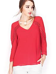 NAKED ZEBRA Women's V Neck 3/4 Length Sleeve T Shirt White / Red / Light Green-AT2502