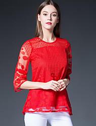 Feminino Blusa Tamanhos Grandes Simples Outono,Patchwork Vermelho / Preto Poliéster Decote Redondo Manga ¾ Média