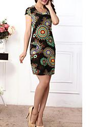 Robe Aux femmes Grandes Tailles Grandes Tailles / Vintage / Soirée / Travail / Décontracté / Plage , Imprimé Col Arrondi / Col Ras du Cou