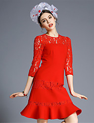 las mujeres aufoli elegancia Vintage atractivo ver a través del cordón del remiendo del bordado más tamaño vestidos de cola de pescado huecos