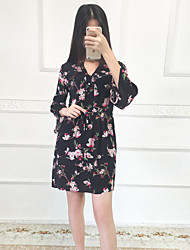 Boutique S Going out Vintage Loose DressFloral V Neck Above Knee  Sleeve Black Silk Summer Mid Rise