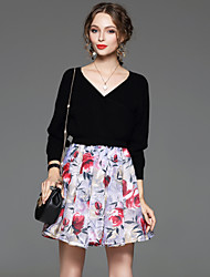 CELINEIA Women's Going out Sophisticated Spring / Fall Set SkirtFloral V Neck Long Sleeve White / Black
