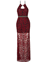 Women's Party Simple Lace Dress,Solid Halter Maxi Sleeveless Red Cotton Summer