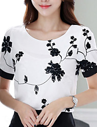 Women's Casual Embroidery Short Sleeve Regular Blouse (Chiffon)