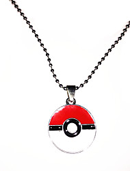 Red and White Zinc Alloy Pokeball Hypoallergenic Necklace