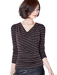 Women's Plus Size Going out Casual Daily Simple / Street Spring Fall Blouse Bright Wire Striped V Neck Long Sleeve