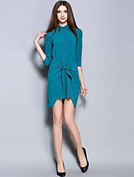 MISS FRENCH  Going out Simple Sheath DressSolid Shirt Collar Above Knee Length Sleeve Blue Linen Summer