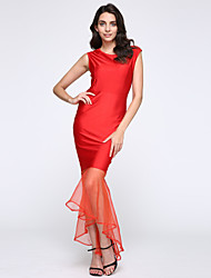 Women's Sleeveless Sexy Bodycon Party Long Fishtail Dress Evening Dress