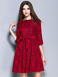 AINIER  Women's Formal Sophisticated Sheath DressJacquard Boat Neck Above Knee Sleeve Red Polyester Spring