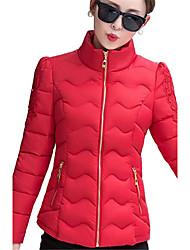 Пальто Простое Очаровательный Обычная На подкладке Для женщин,Однотонный На выход На каждый день Полиэстер Полипропилен,Длинный рукав