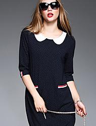 BOMOVO Women's Peter Pan Collar 1/2 Length Sleeve Above Knee Dress-B16QAY3