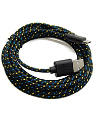 Old Shark™2 Packs 2M 6ft Micro USB Charging and Data Sync Cord Cable Fabric Braided Woven for Samsung Black