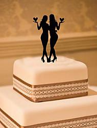 Décorations de Gâteaux Non personnalisée Même sexe Acrylique Mariage Fleurs Noir Thème classique 1 Boîte à cadeau