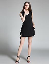 Damen Solide Sexy Party/Cocktail Set Hose Anzüge,V-Ausschnitt Sommer Ärmellos Schwarz Bambusfaser Mittel