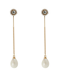Earring Flower Drop Earrings Jewelry Women Tassels Wedding / Party Imitation Pearl / Gold Plated 1 pair Gold