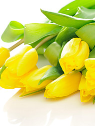 JAMMORY Mural Art Deco Wallpaper Contemporary Wall Covering,Canvas Yes Large Mural  Fresh Yellow Tulips