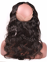 10''-20'' Noir Naturel (#1B) Dentelle frontale Ondulation naturelle Cheveux humains Fermeture Brun roux Dentelle Suisse 85g gramme Moyenne